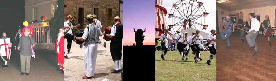 Picture of mummers, dancing abroad, the Ooser on May day, dancing at Bath and West show and a practice evening